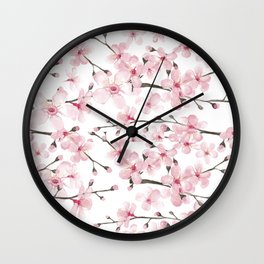 Watercolor cherry blossom Wall Clock