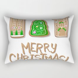 Merry Christmas Poster with Gingerbread Houses and Fir Tree Rectangular Pillow