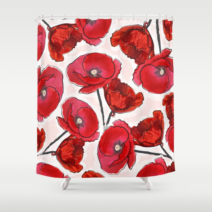 The Poppy Shower Curtain By Thebugandthebird