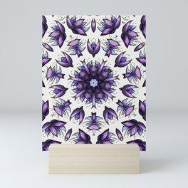 Abstract Flower Kaleidoscopic Pattern Mandala Blue Violet Mini Art Print