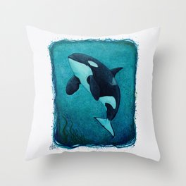 """""""The Matriarch"""" by Amber Marine ~ Orca / Killer Whale (J2 Granny) Watercolor Art, (Copyright 2016) Throw Pillow"""