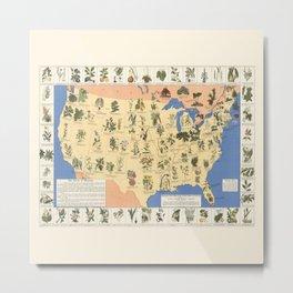 Medicinal Plants map of US Metal Print