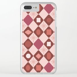 Mid Century Modern Rosewood Diamonds Clear iPhone Case
