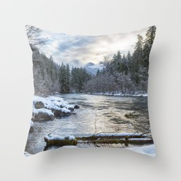 Morning on the McKenzie River Between Snowfalls Throw Pillow