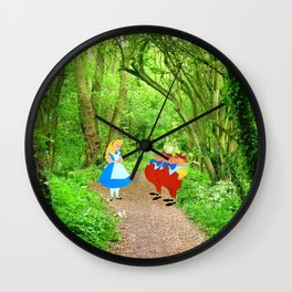 Alice and the Tweedles in the Forest Wall Clock