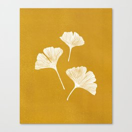 Ginkgo Biloba | Yellow Background Canvas Print