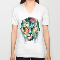 tiger V-neck T-shirts featuring TIGER by RIZA PEKER