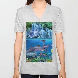 The Dolphin Family Unisex V-Neck