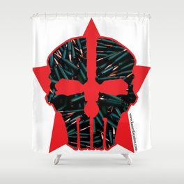Bullet Skull Red Star - KK Promo Shower Curtain
