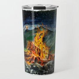 'Life Goals' Original Campfire Pastels Art - by Dark Mountain Arts Travel Mug