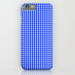 Cobalt Blue and White Gingham Pattern iPhone Case