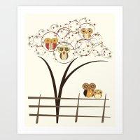 Owl Burst Art Print