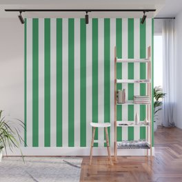 Kelly Green and White Small Even Stripes Wall Mural