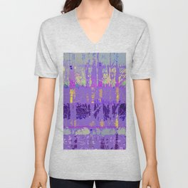 Abstract Forest Trees in Lavender and Lilac Unisex V-Neck