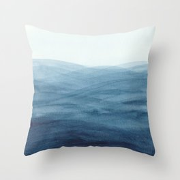 Watercolor abstract waves Throw Pillow
