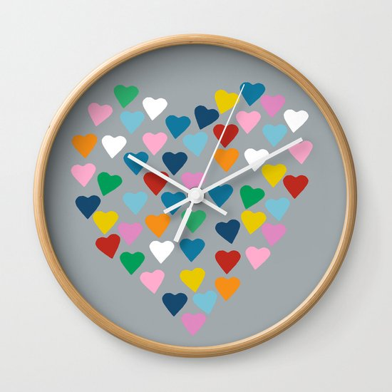 Hearts Heart Multi Grey Wall Clock