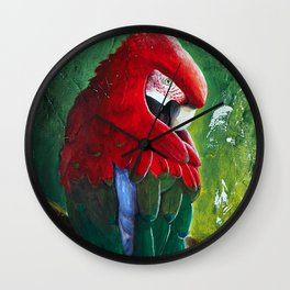 """Aras parrot - """"A morning like the others"""" - by LiliFlore Wall Clock"""