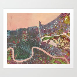 A Map of Vibrant New Orleans Art Print