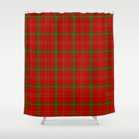 plaid Shower Curtains featuring Christmas Plaid by apgme