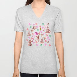 Christmas Gingerbread people and candy canes Unisex V-Neck