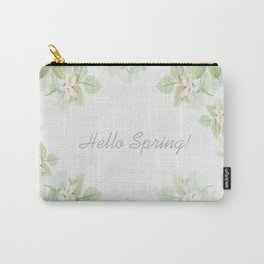 Spring floral watercolor painting & Quote Carry-All Pouch