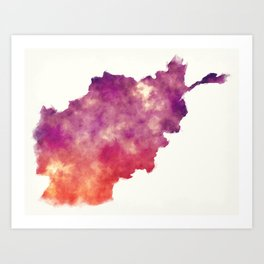 Afghanistan watercolor map in front of a white background Art Print