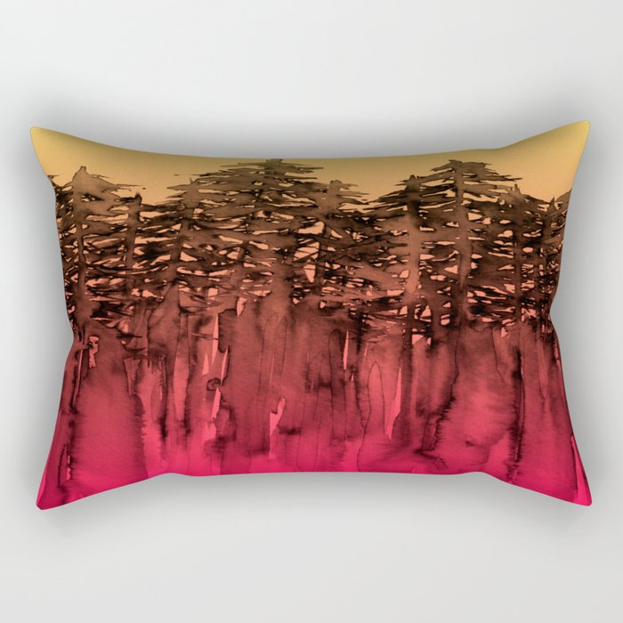 FOREST THROUGH THE TREES 12 Hot Pink Magenta Orange Black Landscape Ombre Abstract Painting Outdoors Rectangular Pillow