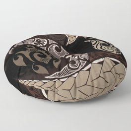 Hawaiian Tapa Fish Hook and Honu Floor Pillow