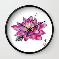 lotus flower Wall Clocks featuring Lotus by Art by Risa Oram