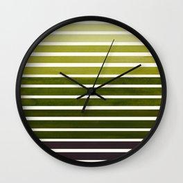 Olive Green Mid Century Modern Minimalist Scandinavian Colorful Stripes Geometric Pattern Round Circ Wall Clock