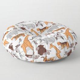 Origami safari animalier // white background orange giraffes Floor Pillow
