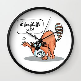 Oh for Fluffs Sake! - Angry Cat Wall Clock