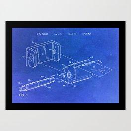 Toilet paper dispenser patent Art Print