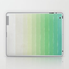 Shades of Ocean Water - Abstract Geometric Line Gradient Pattern between See Green and White Laptop & iPad Skin