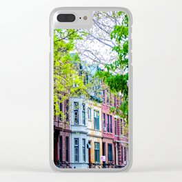 Brooklyn Rainbow Brownstones Clear iPhone Case