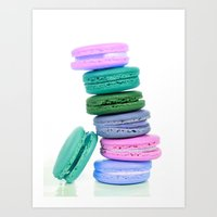 macaroons Art Prints featuring Macaroons  Pink Aqua Periwinkle by Whimsy Romance & Fun