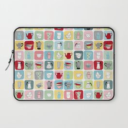 Retro Coffee Pots and Cups Pattern Laptop Sleeve