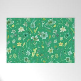 Verdant Flowers on Emerald Background Welcome Mat