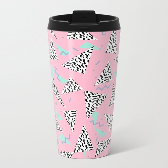 Geometric Minimal pastel modern pattern design triangle memphis basic nursery decor Metal Travel Mug