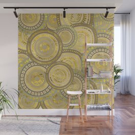 Circular Ethnic  pattern pastel gold and beige Wall Mural