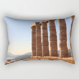 the ancient temple of Poseidon . Cape Sounion, Attica, Athens, Greece Rectangular Pillow