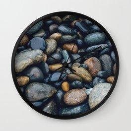 wet river rocks Wall Clock