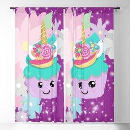 Unicorn Cupcake Sparkles Background Blackout Curtain