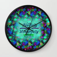 scripture Wall Clocks featuring FEARFULLY AND WONDERFULLY MADE Floral Christian Typography God Bible Scripture Jesus Psalm Abstract by The Faithful Canvas