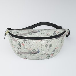 Oriental Peacock Toucan Floral Pattern Fanny Pack