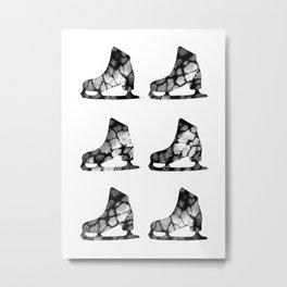 Watercolor Figure Skates (Black) Metal Print