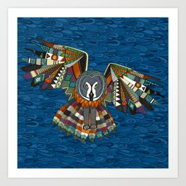 night owl blue Art Print