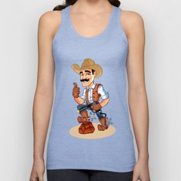 Illustration of a cowboy  with pistol Unisex Tank Top