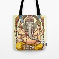 ganesha Tote Bags featuring Ganesha by Pirates of Brooklyn