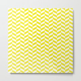 Yellow Herringbone Pattern Metal Print